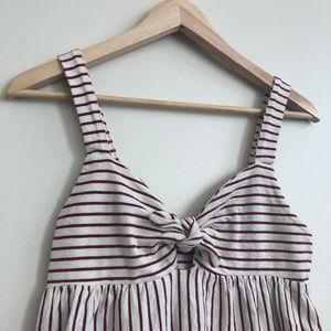 Zara Striped Tie Front Keyhole Midi Dress - Small